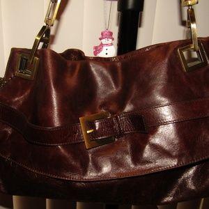HELEN WALSH bag brown pockets hardware buckle